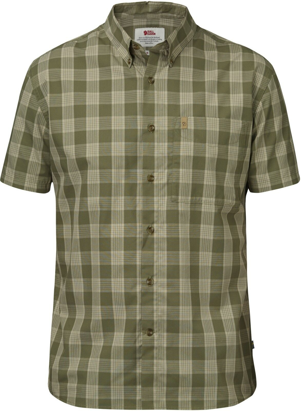 Fjällräven Övik Button Down Shirt SS 82443 Grün Herren Short Sleeve Shirt Hunting Shirt