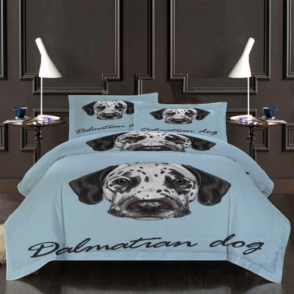 Weiß Spotted Hund 3D Druckening Duvet Quilt Will Startseites Pillow Case Bettding Sets