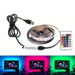 5V-5050-RGB-60SMD-M-LED-STRIP-LIGHTS-BAR-TV-BACK-LIGHTING-KIT-USB-24-KEY-REMOTE
