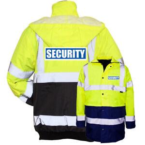 Yellow-Navy-Reflective-Security-Hi-Vis-Parka-Jacket-Printed-Work-Coat-High-Viz