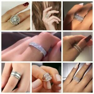 Exquisite Bridal Wedding Jewelry 925 Silver White Topaz Ring Anniversary Gifts