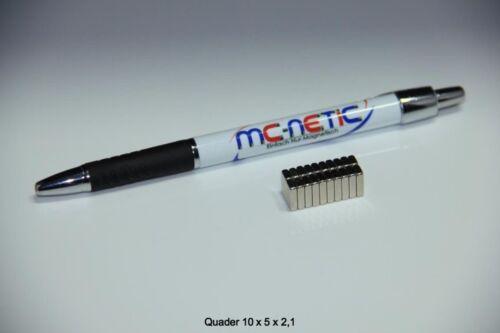 20 Stück Neodym Quadermagnete Magnetquader 10x5x2,5 mm N45 vernickelt