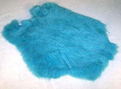 2 RABBIT SKIN NEW BLUE COLOR fur pelt bunny soft crafts supplies rabbits skins