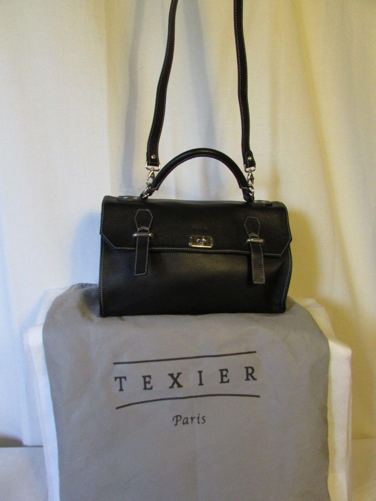 Tasche TEXIER TEXIER TEXIER Leder gemasert schwarz   Exzellente Verarbeitung  6e4bfd