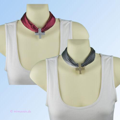 Halstuch Tuch schwarz weiß rot Tupfen Dots Kreuz Anhänger Schalhalter