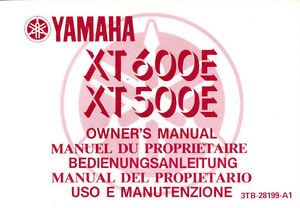 Manuel Du Proprietaire Yamaha Xt 600 500 E 1990