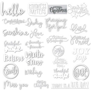 Mixed Daily Letters Words Shape Metal Cutting Dies Stencil Scrapbook Album