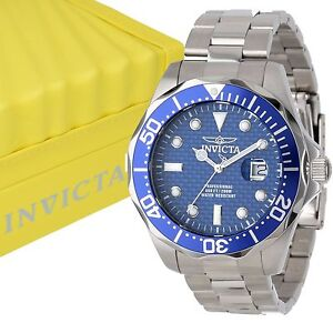 INVICTA-Men-039-s-12563-Pro-Diver-Blue-Carbon-Fiber-Dial-Stainless-Steel-Watch