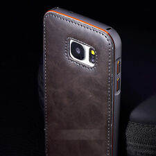 Luxury Metal Aluminum Bumper +Leather Back Case Cover For Samsung S6 / S7 Edge