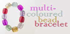 Multicoloured Bead Bracelet Purple Pink Red Clear Yellow Green Blue Elasticated