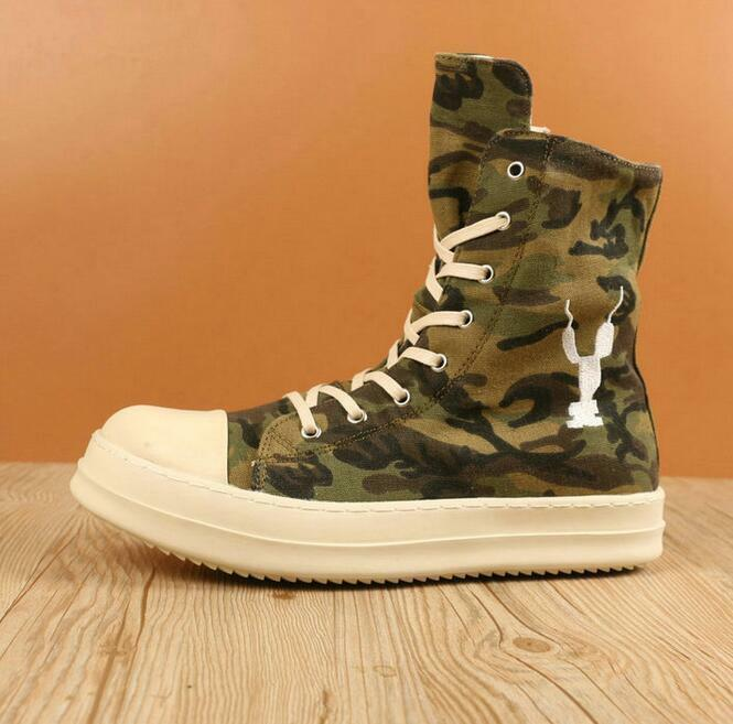 Embroidery Mens Athletic Camo High Top shoes Lace Up Side Zipper Sneakers shoes
