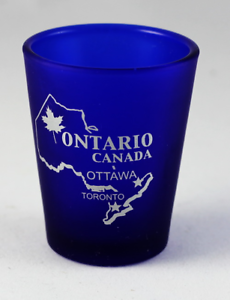 ONTARIO-CANADA-COBALT-BLUE-FROSTED-SHOT-GLASS-SHOTGLASS