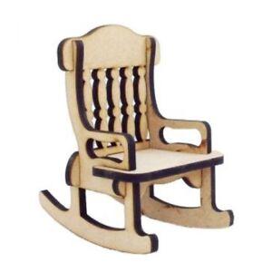 Laser Cut Wooden Mdf Plain Rocking Chair Wood Craft Miniature