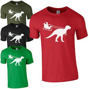santa sleigh dinosaur t shirt funny t rex jurassic christmas gift