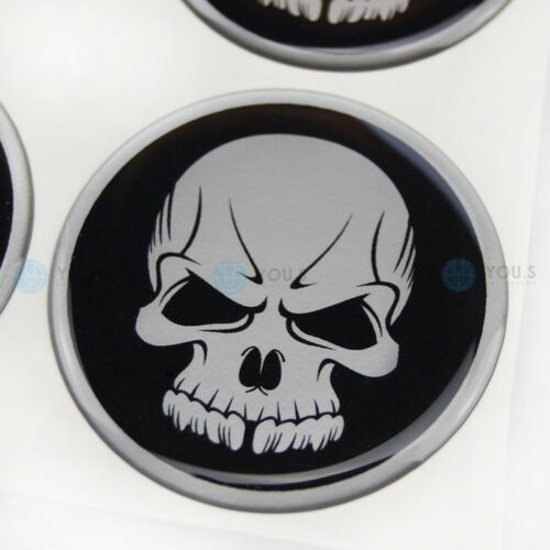 4 x COPRIMOZZO IN SILICONE COPERCHIO MOZZO TAPPI Adesivo TESCHIO emblema 57 mm