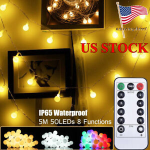Details About Led Christmas String Light Ball Lamp Remote Control Globe Home Decoration