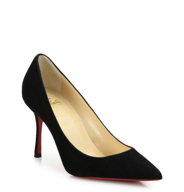 Christian Louboutin Decoltish 85mm Black Suede Point Toe Pumps 38eu 8us