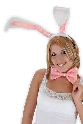 Coniglietto Bianco 3 Pz Earrings Coda & Cravatta A Farfalla Costume Kit Sapore Aromatico