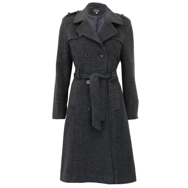 VEKDONE Women Trench Coat Winter Wool Blend Coat Warm Single Breasted Long Parka Overcoat Outwear