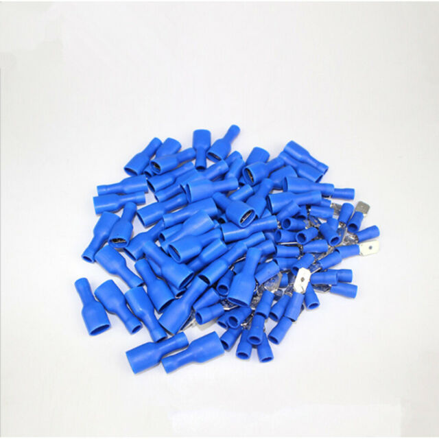 50 x PAIRS Blue 6.3mm Male Business, Office & Industrial Other Wire & Cable Connectors Female Fully Insulated Crimp Spade Connector
