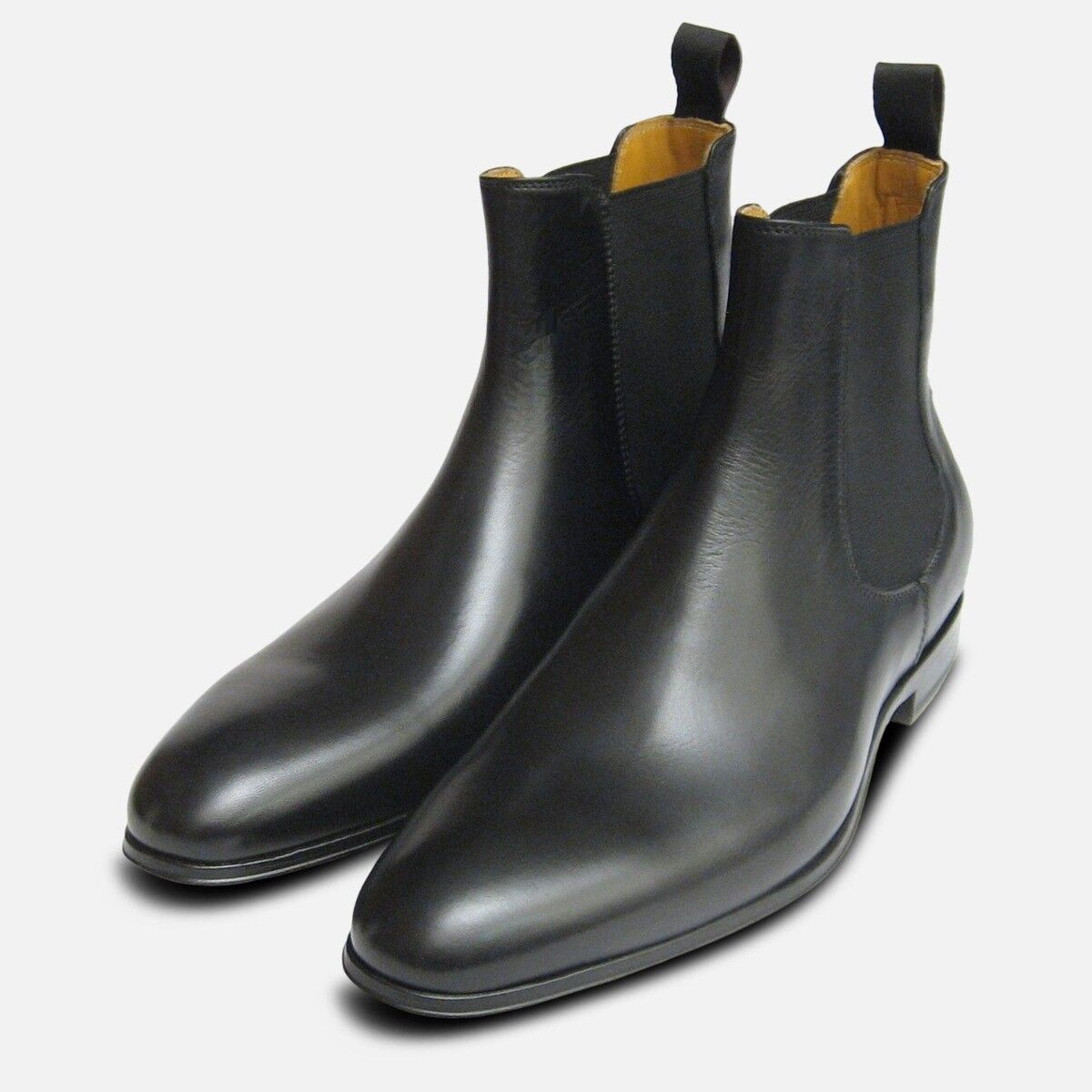 Black Leather Chelsea Boots for Men