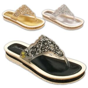 WOMENS-LADIES-SANDALS-LOW-WEDGE-HEEL-TOE-POST-FLIP-FLOPS-GLITTERY-SUMMER-SIZES