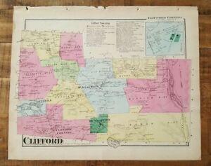 Pa Antik Gefärbten Map Of Clifford & Clifford Ecken A Pomeroy & Co.1872 Dauerhafte Modellierung