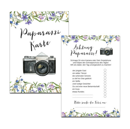 """Fotospiel 50 Fotokarten /""""Blaue Hochzeit/"""" Hochzeit Fotoralley Hochzeitsspiel"""