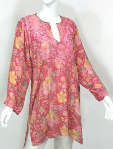 INDIAN-INDIA-100-SILK-HAND-EMBROIDERED-LONG-TUNIC-BLOUSE-TOP-KURTI-PINK-LARGE