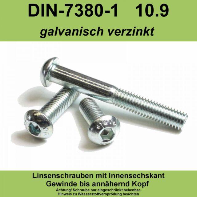 M8 ISO 7380-1 10.9 verzinkte Linsenschrauben Innensechskant Linsenkopf vz M8x