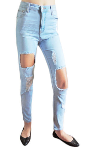 SIZE 6-16 WAKEE BLUE ULTRA HIGH RISE RIPPED JEANS