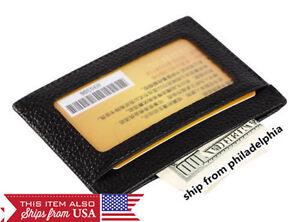 MEN-039-s-GENUINE-LEATHER-THIN-SLIM-Wallet-Holder-Money-Credit-Card-ID-Window