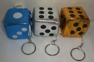 12 ASST ANIMAL PRINT FUZZY PLUSH DICE KEY CHAINS tiger leopard zebra keychain