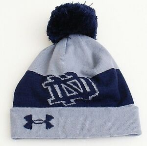 bfde6ffc06d Under Armour Notre Dame Gray   Blue Knit Cuff Pom Pom Beanie Men s ...