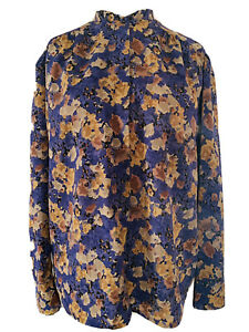 Jacques-Vert-Vintage-Multi-Floral-Blouse-Button-Down-Chiffon-Retro-Art-Size-16