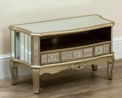Mirrored Tv Stand Unit Storage Cabinet Drawers Glass Furniture