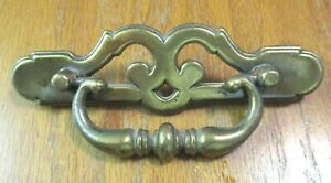 "BPC 20619 Drawer 1940s Drop Bail Pull Handle Aged Brass 4-1/2"" Centers 1 Vintage"