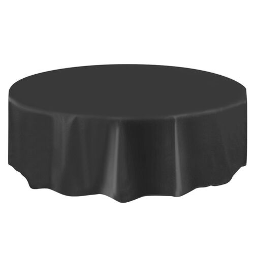 Black Round Table Cover Tablecloth Plastic Table Cloth Reusable