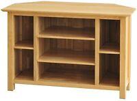 Columbus Solid Oak Furniture Corner Tv Dvd Cabinet Stand Unit