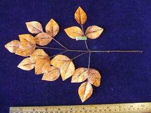 Vintage-Millinery-Flower-Leaf-Silk-Velvet-Rust-18p-Y61