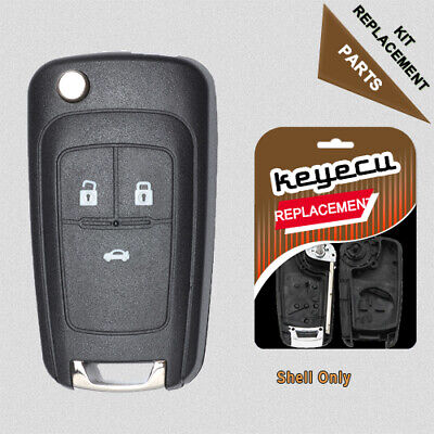 Folding Shell Remote Key Case Fob 3 Button for Chevrolet Cruze 2011-2013 Uncut