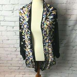 Storia-Women-039-s-Open-Kimono-Robe-One-Size-Fits-Most-Black-Colorful-Feathers