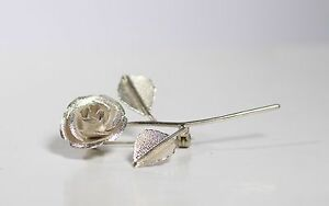 1c72084489c Image is loading 925-Sterling-Silver-Rose-Flower-Brooch-Pin