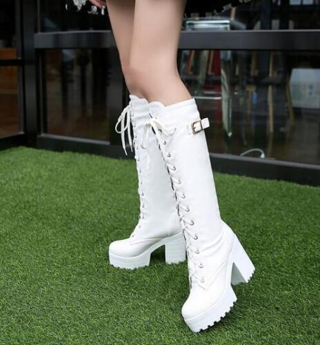 Women Lace Up Knee High Boot Round Toe PU Cosplay High Heel Block Platform Solid