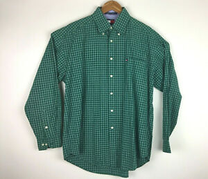 Tommy-Hilfiger-Men-039-s-Large-Shirt-Green-amp-White-Checks-Long-Sleeve-Button-Down