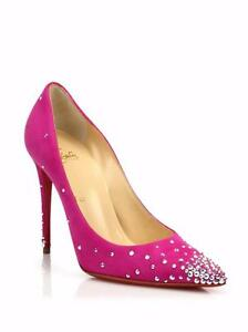 bf27e67a448f Image is loading Christian-Louboutin-DEGRASTRASS-Crystal-Suede-Heels-Pump -Shoes-