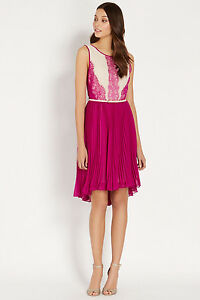 12 Oasis Women's Pink Midi Lucy Dress Lace YFYwqar