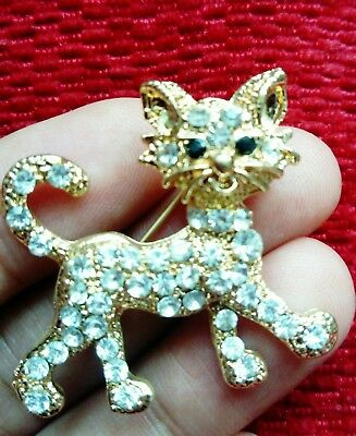 Cat Kitty Kitten Gold Crystal BROOCH Pin Badge Diamante Rhinestone Ladies Gift
