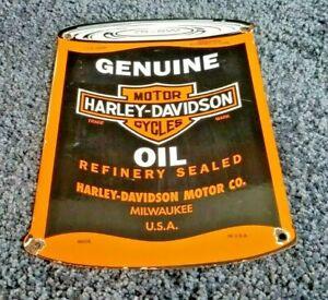 VINTAGE-HARLEY-DAVIDSON-MOTORCYCLE-PORCELAIN-QUART-CAN-BIKER-SERVICE-SALES-SIGN