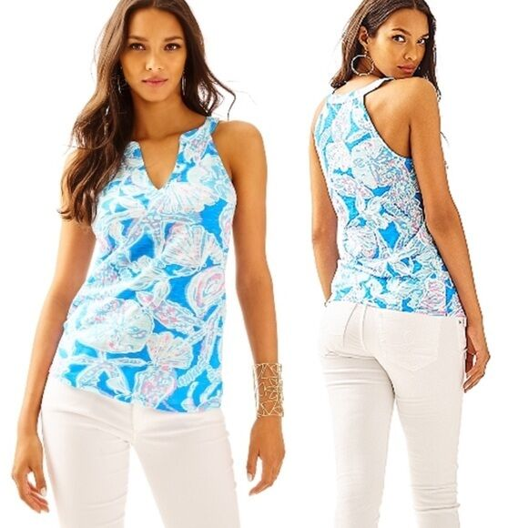 New Lilly Pulitzer ARYA PRINTED TANK TOP in Bay Blau into the Deep XS S M